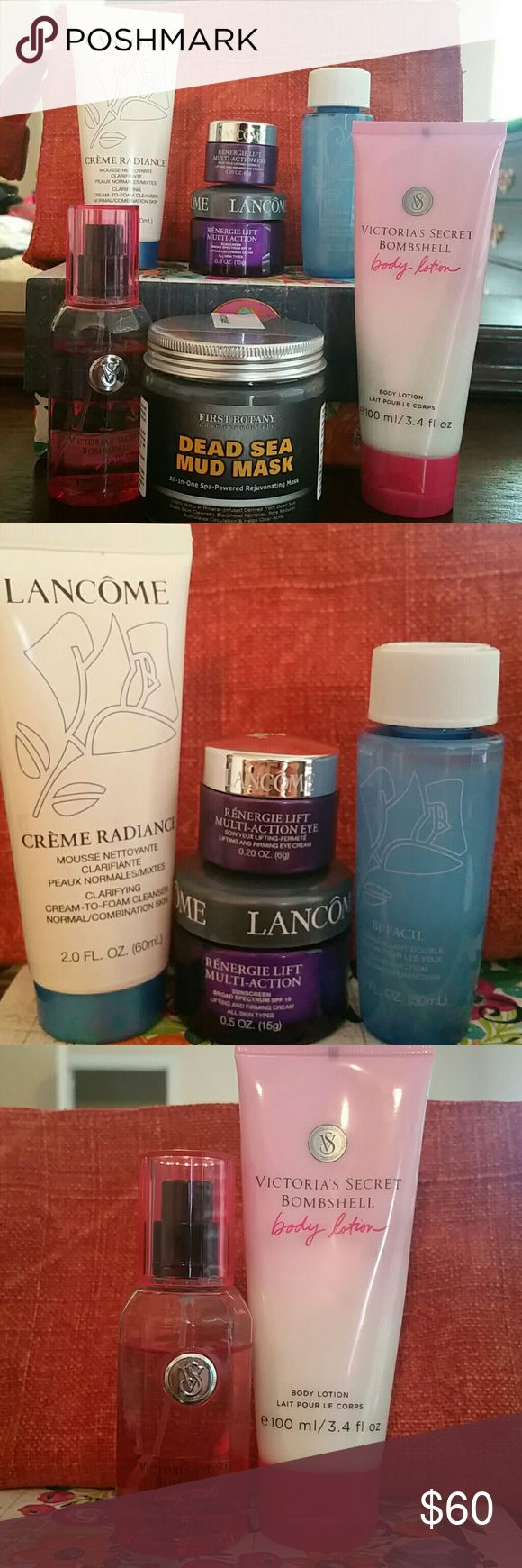 Lancome, VS, Beauty Bundle All Lancome is brand new never used.  Creme Radiance Cleanser 2.0 Oz Bi-Facial 1.7oz Renergie Lift Multi action 0.5 Oz Renergie Lift Eye 0.2 Oz  Victoria Secret Bombshell  Body spray and lotion 3/4 full  First Botany Dead Sea Mud Mask 8.8 oz Lancome Makeup