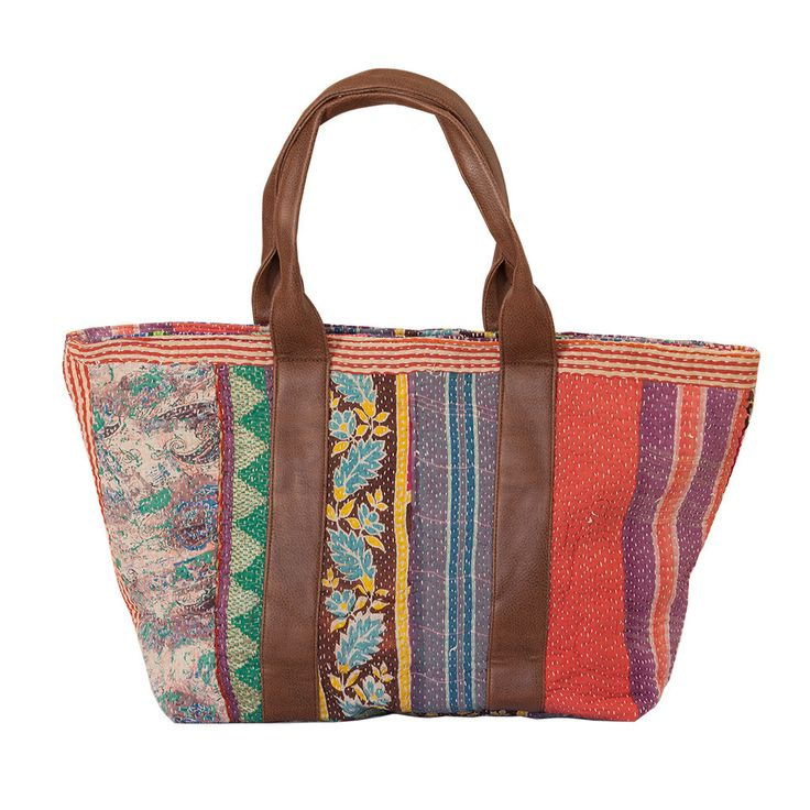Vintage Kantha Handbag - Striped from The Hues of India