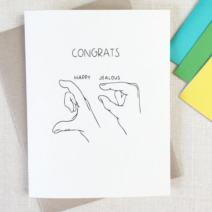 Funny Congratulations Card- JEALOUS Friend Card - Congrats Card, Funny Engagement Card, Funny Wedding Card, New Home Card, Great Job Card by CHALKSCRIBE on Etsy