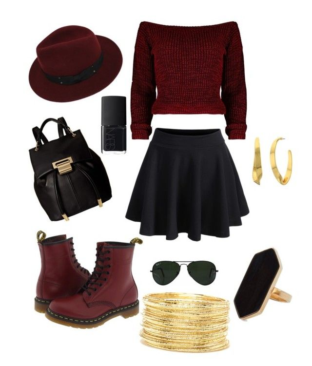 """""""Trendy in red"""" by syddeon on Polyvore featuring Sans Souci, Dr. Martens, Lauren Ralph Lauren, Ivanka Trump, Forever 21, Jaeger, Ray-Ban and NARS Cosmetics"""