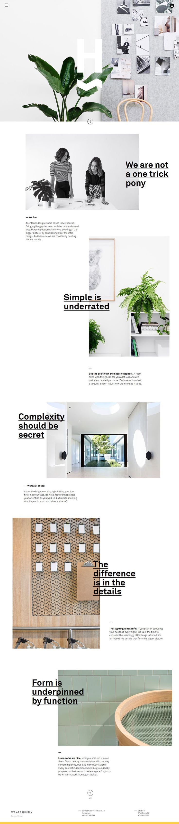 Huntly, minimal creative design website