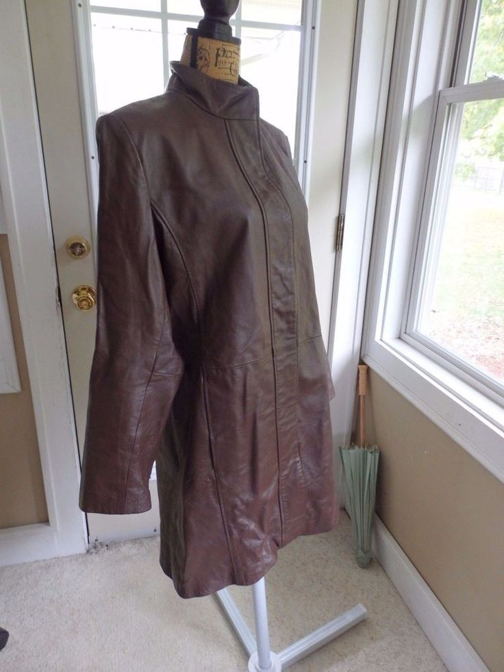 Metro style Womens Leather Trench coat High Neck Button Closure, Sz 12 #Metrostyle #Trench #Business