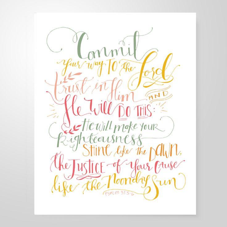 Image of Psalm 37:5-6 | 8x10 print $12