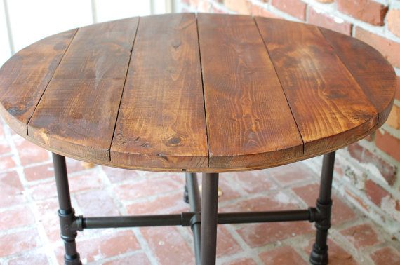 "round coffee table, industrial wood table 30"" x 20"", reclaimed"