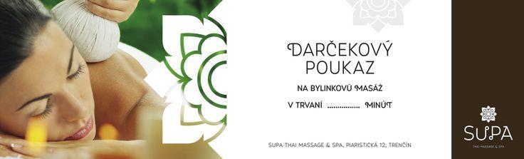 SUPA Thai massage & spa Trenčín, Slovakia Darčekový poukaz - herbal massage woucher