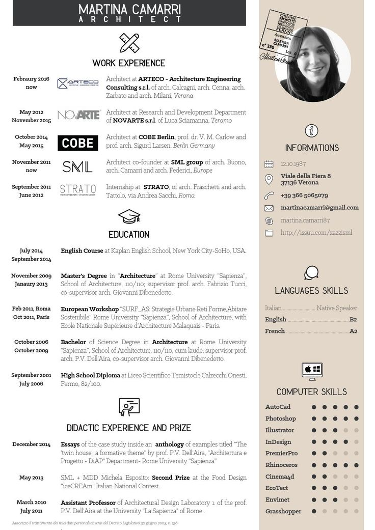 7 best porte folio images on Pinterest Resume cv, Architectural - technical architect resume