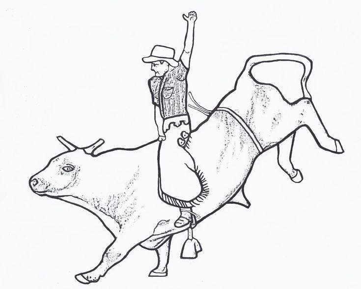 bull riding coloring pages 02 | mason | Pinterest | Bull ...