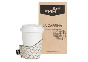 LA CAFEINA - ZEUS Coffee lovers everywhere will love Art Hide's new Cafeína cowhide coffee cup holders. Designed for take away coffee, the Cafeína not only looks super stylish, but also keeps coffee warmer for longer and ensures you don't burn your hands! The Cafeína is available in a range of gorgeous Art Hide signature leathers and comes packaged in a rustic coffee bean style paper bag