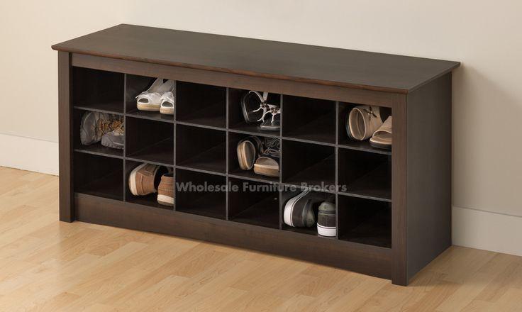 Espresso Shoe Storage Cubby Bench by Prepac