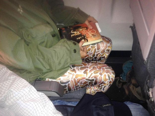 One lucky Reddit user had the pleasure of sitting next to this fashionista on a recent flight. Bonus: that Liberace-themed hardback novel. Someone Actually Owns A Pair Of Those Penis Print Leggings