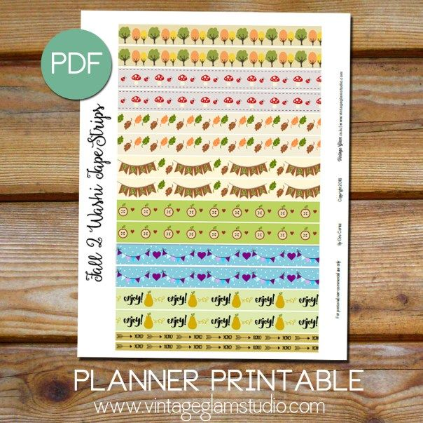 Free washi tape planner stickers printable| For personal use only