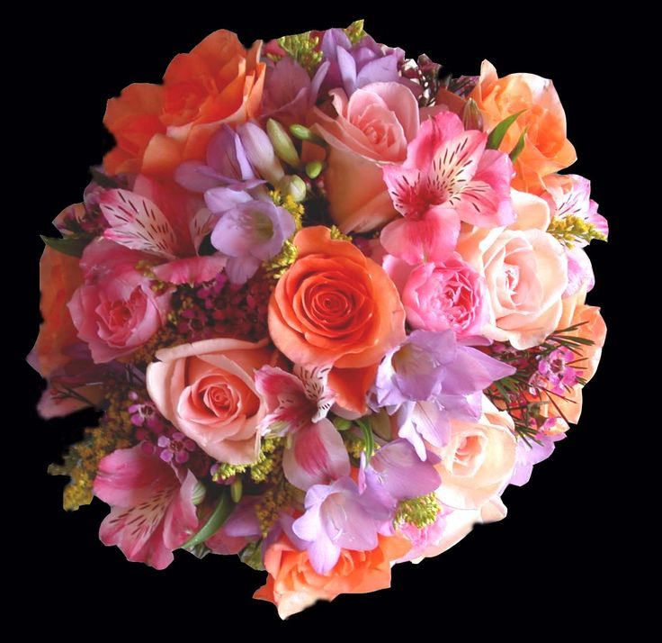 Coral And Pink Wedding Flowers: Pink Peach Mauve Lavender Wedding Flowers Bridal Bouquet