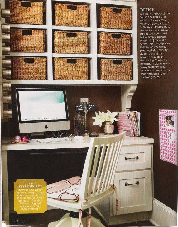Office In A Nook Chocolate Walls With Creamy White Desk And Shelves Oh Don T Forget The Baskets I