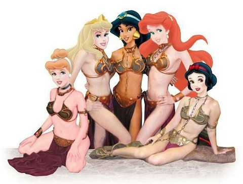 Disney Princesses in Slave Leia bikinis? Yes please!