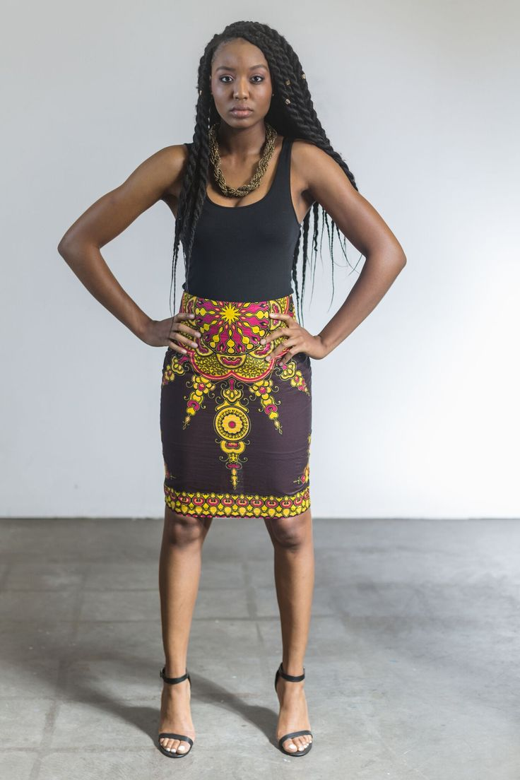 Star African Print Pencil Skirt Add some color to your day and shine bright like…