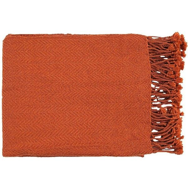 Surya Turner Collection Burnt Orange Throw ($30) ❤ liked on Polyvore featuring home, bed & bath, bedding, blankets, accessories, home textiles, burnt orange throw, acrylic blanket, surya and handmade blankets