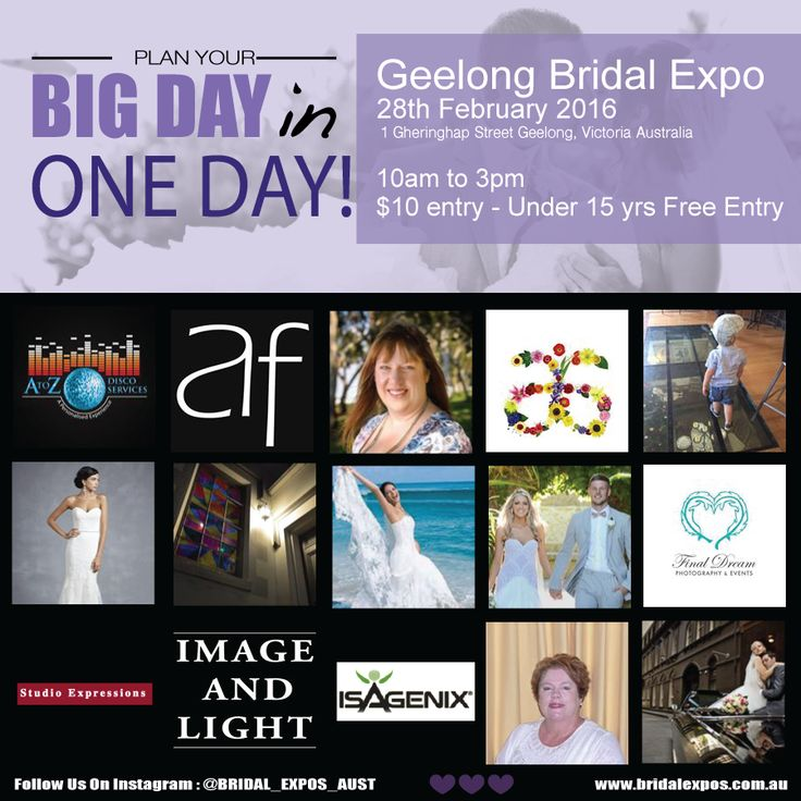 Planning your wedding day? Be sure to head on down to the ‪#‎GeelongBridalExpo‬ this Sunday the 28th of February 2016! ‪#‎BeInspired‬ by Melbourne's leading wedding specialists all under one roof ready to help you plan your big day in ONE day! Here are just some of our exhibitors! heart emoticon