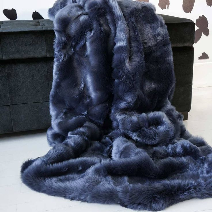 Navy Blue Faux Fur Throw Blankets Comfy Things Pillows
