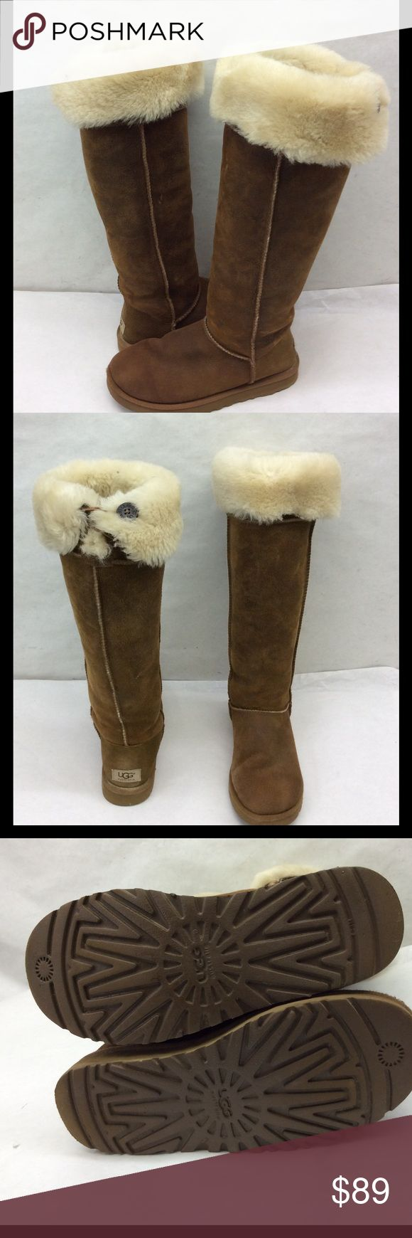 "Ugg Australia 3172 Shearling Suede Knee High Boots UGG Australia 3172 Boots. These boots have been worn a few times but are in good condition. Double bailey button at the cuff. Filly lined with shearling. Textured chestnut brown suede knee high authentic. Circumference 17"" shaft height 19""   Psku 79 UGG Shoes Over the Knee Boots"