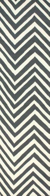 nuLOOM Rugs Charcoal Hand Hooked Chevron Area Rug Hand Hooked 100% Wool Contempo 2 1/2 x 10 Home Decor Rugs Rugs