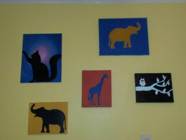My easy, yet cute, paintings in my sewing/painting studio.