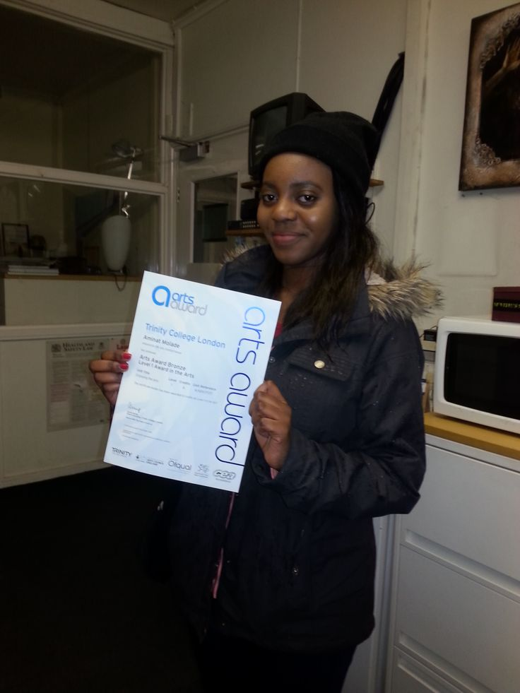 Aminat receiving her Arts Awards Bronze Certificate! Well done to her!!!!!