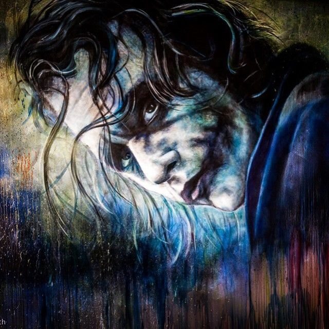 Close up detail of @vincent_fantauzzo's stunning tribute to Heath Ledger, located in the main foyer of @thebacklotperth in West Perth.