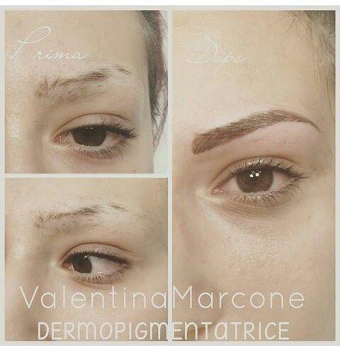 Prima dopo permanent make-up  Sopracciglia tatuate affetto naturale