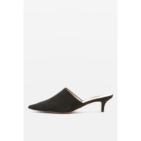 Topshop Juice High Vamp Mules (1,705 THB) ❤ liked on Polyvore featuring shoes, black, high vamp shoes, black mules, mule shoes, black mule shoes and kohl shoes