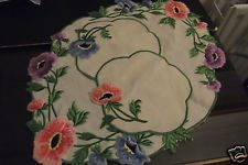 ANTIQUE OLD BLEACH PURE IRISH LINEN CHAVEL 3 PIECE STE TWIN NEEDLE EMB - $9.98