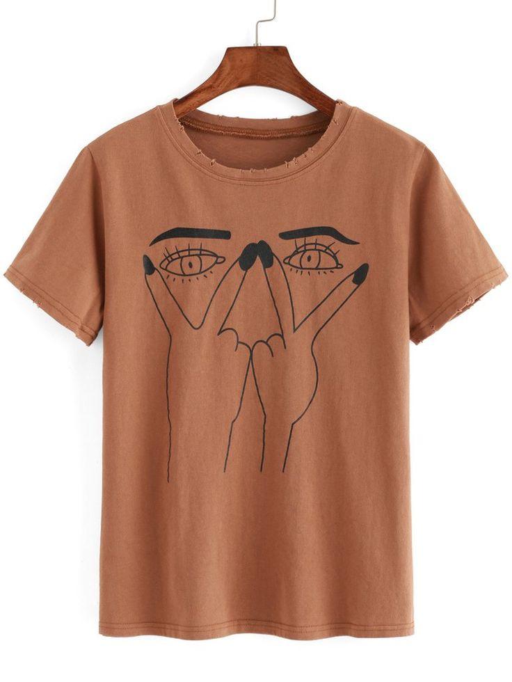 Eye Print Ripped T-shirt