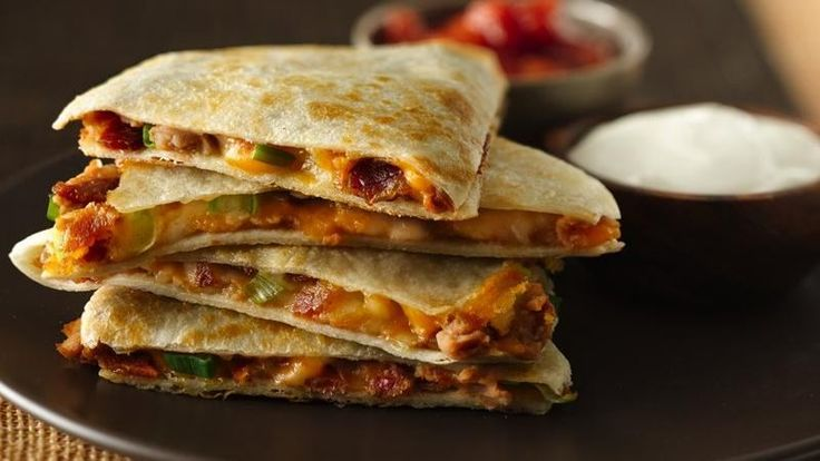 The added bacon and scallions in this quesadilla give a surprising and delicious flavor boost!
