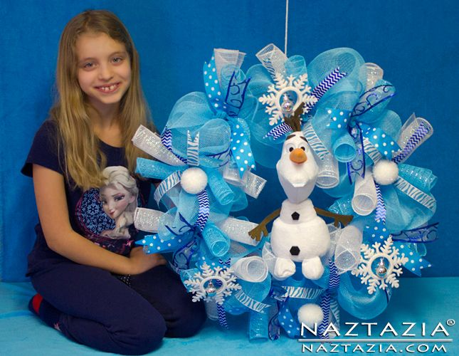 DIY Free Pattern and YouTube Video Tutorial Frozen Inspired Elsa Anna Olaf Snow Man Snowman Geo Deco Decorative Mesh Wreath by Donna Wolfe from Naztazia