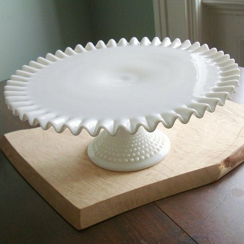 vintage fenton hobnail milk glass cake stand by