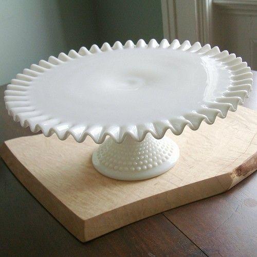 Vintage Fenton Hobnail White Milkglass Cake Stand from FQMercantile on Etsy, $79