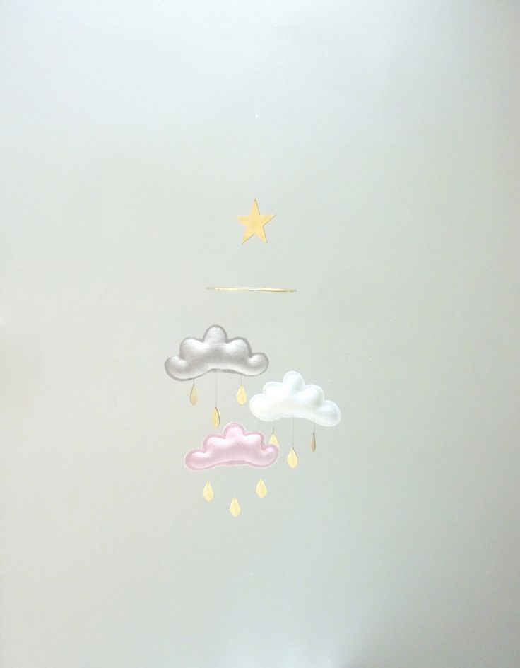"""Mobile """"CANDY"""":White,Grey,Light pink cloud mobile for nursery and gold star by The Butter Flying- Mobile Nursery by leptitpapillon on Etsy https://www.etsy.com/listing/232377662/mobile-candywhitegreylight-pink-cloud"""
