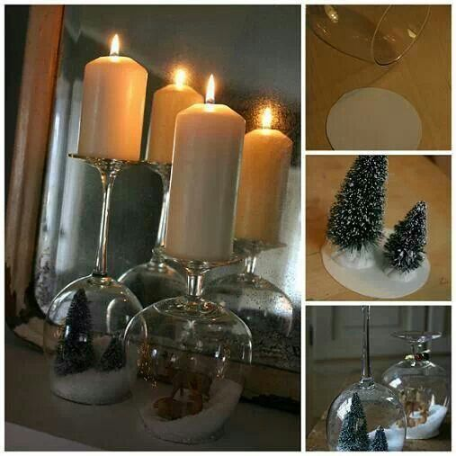 Goblet snow globes and candle holders