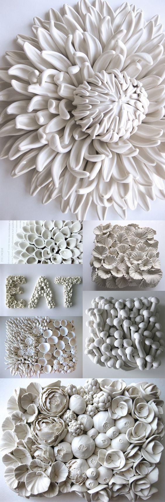 Ceramic Flower Sculptures and Tiles by Angela Schwer