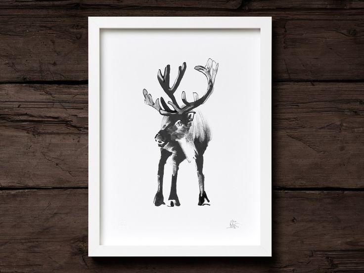 Forest Reindeer Art Print - Teemu Järvi
