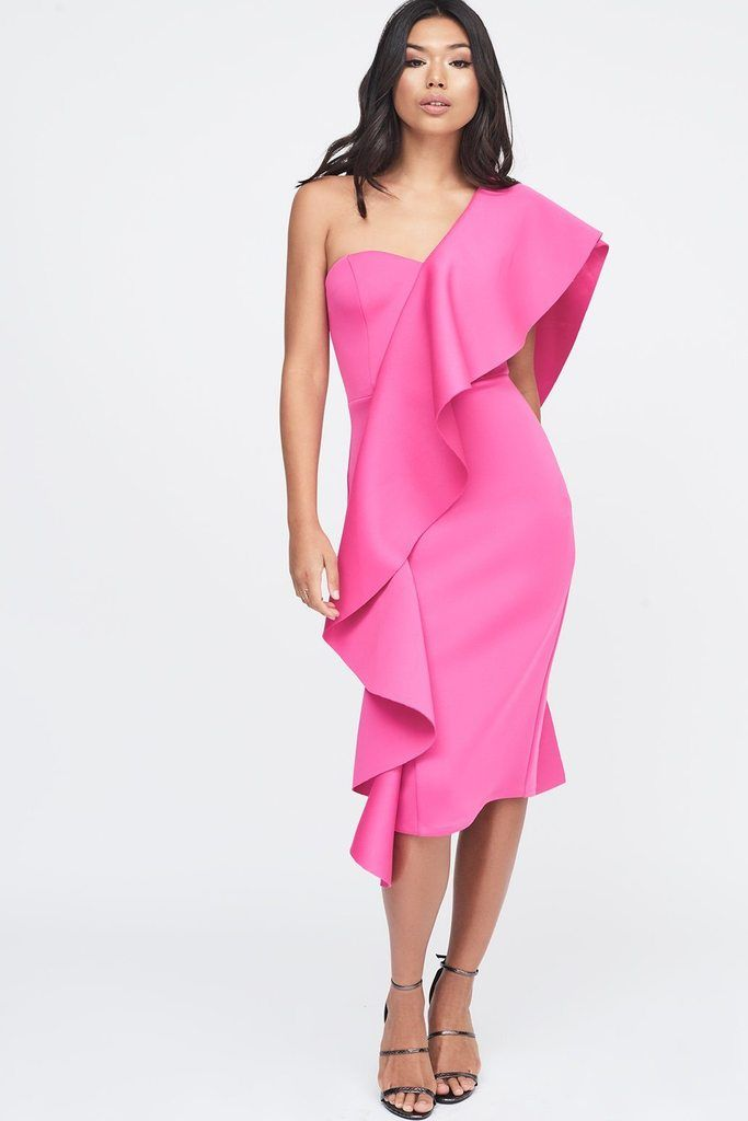 f48eaf8a0c Exaggerated Frill One Shoulder Scuba Midi Dress in Pink – Lavish Alice
