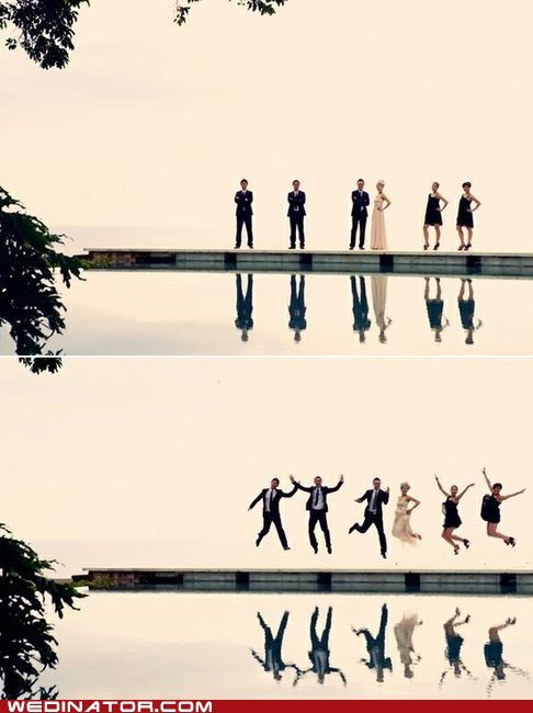 A jumping wedding party pic that's pretty sweet.