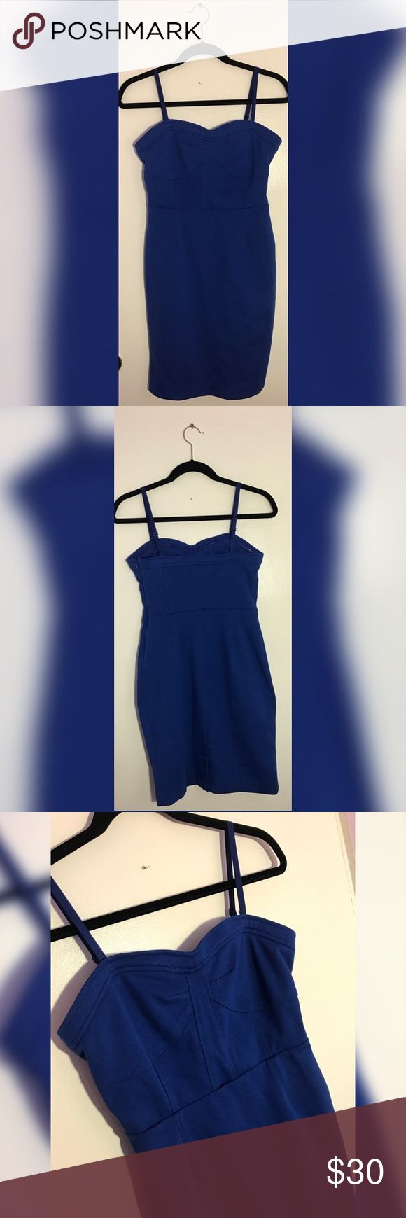 "Sofia Vergara Fitted with stretch Pencil Dress Super Cute Cobalt Blue Bodycon Dress. Zipper on the left. Beautiful cut in the front. Has rubber on the inside of Dress by bra area to be worn strapless as well.  Measurements (approximate) Length: 33"" Sofia Vergara Dresses Midi"