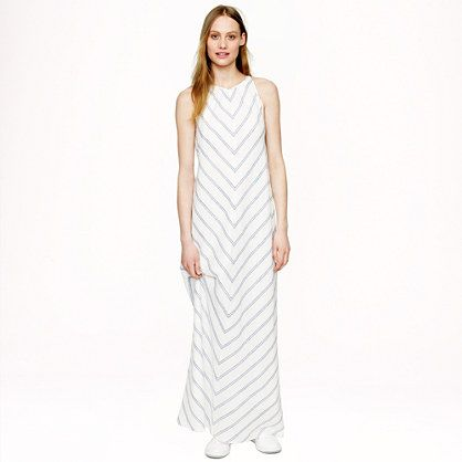 There's something very Greek isles about this #JCrew linen chevron maxi dress.  Wear with neutral or metallic gladiators and a woven tote for classic vacay chic #styletip #summerstyle