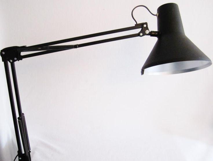 INDUSTRI LAMPA/SKRIVBORDSLAMPA - Industridesign Svart Plåt på Tradera.