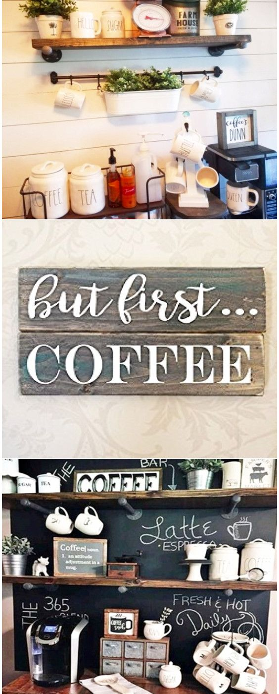 Coffee bar ideas - great ideas for decorating a coffee bar in your kitchen.  Great ideas for small kitchens, farmhouse kitchens and more.  I love all the Rae Dunn mugs and canisters - perfect coffee bar decor ideas.
