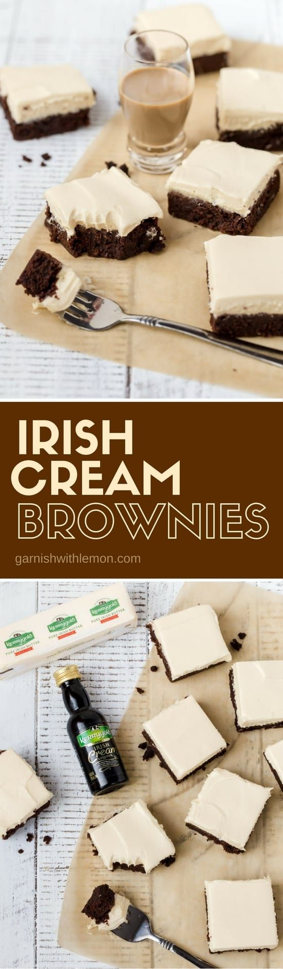 Don\'t settle for plain brownies when you can serve these rich dark chocolate Irish Cream Brownies instead. One bite and you will be in heaven. #brownies #irishcream #desserts #chocolate