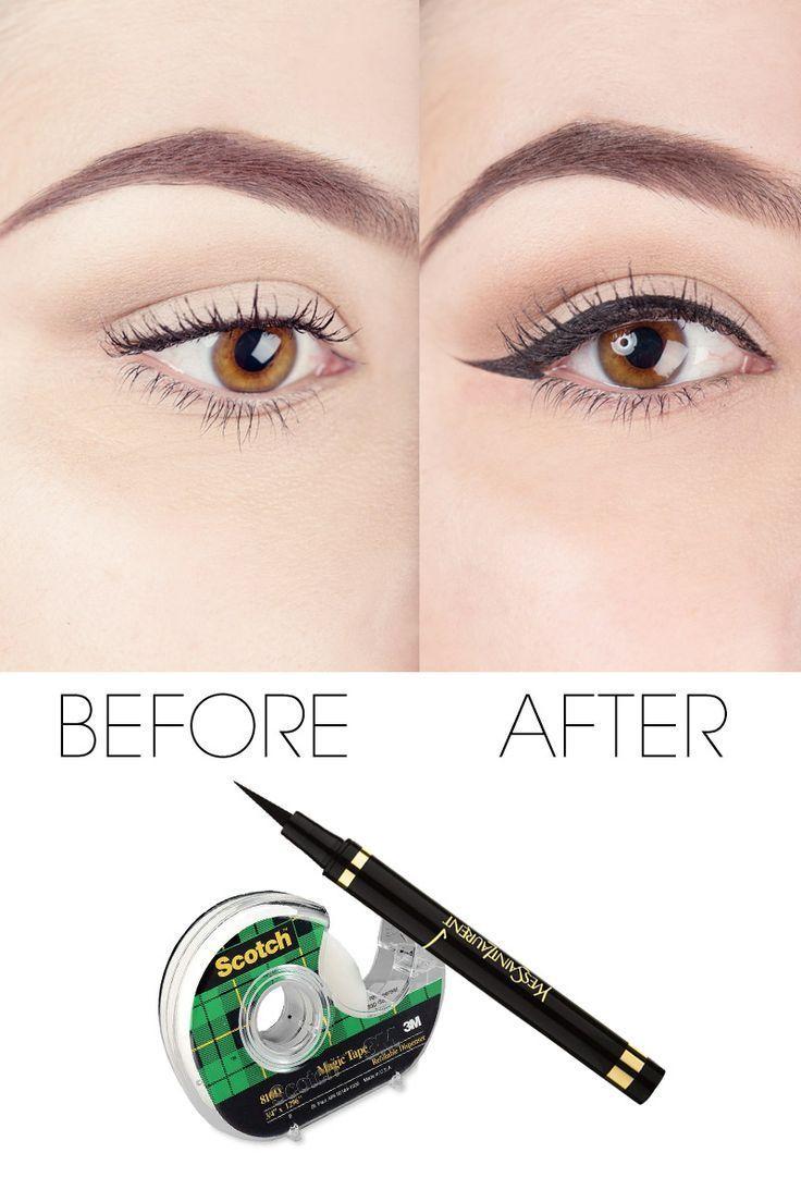 Winged eyeliner tricks , makeup tutorial for liquid eyeliner easy application . | http://makeuptutorials.com/makeup-tutorials-17-great-eyeliner-hacks/