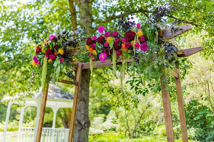 Boho and Bright Arbor Arrangement // Wedding Arbor and Dressings supplied and installed by Rustic Character Wedding Hire // Photography by Gez Xavier Mansfield Photography // Venue Firescreek Winery.
