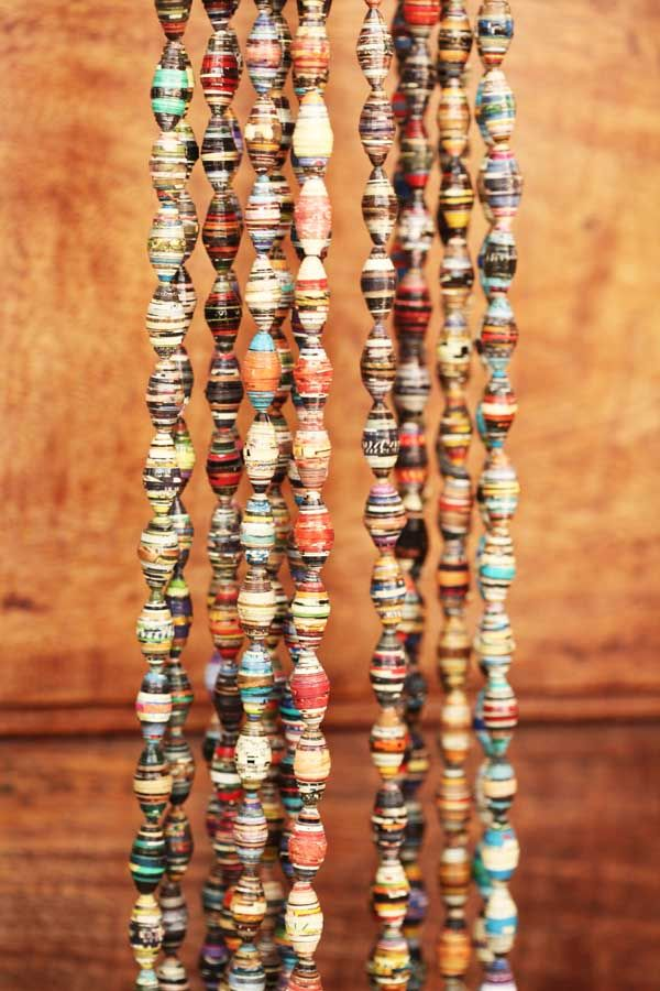 Paper bead necklaces made by women in the slum community outside Colombo, Sri Lanka. Salvage is a effort to recycle and rehabilitate. Read more - www.salvagesrilanka.com