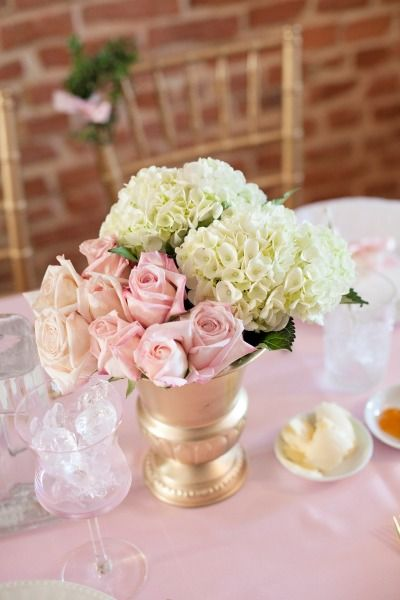 French Inspired Sprinkle Baby Shower Pretty Pink And Ivory Flower Arrangements For The Table As Centerpieces Pinterest